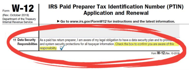 IRS Form W-12 PTIN Renewal with Circled IT Security Requirement