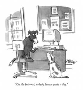 Dogs on computer talking about internet comic